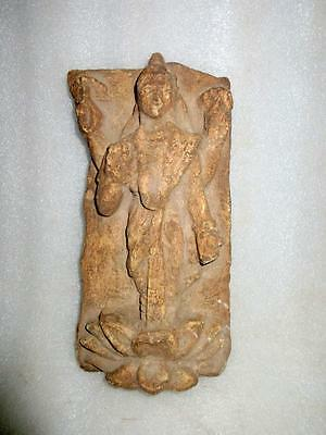 1800's Rare Antique Old Hand Engraved Stone Indian Goddess Laxmi Figurine Statue