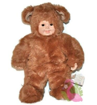 "Vintage 1997 ANNE GEDDES 15"" Baby Bear Plush Doll Light Brown Stuffed Toy"