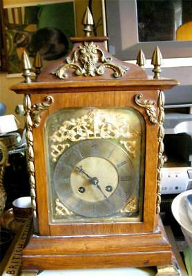 Fab 19th Century Antique French Mantle Clock, Wood and Ormulu