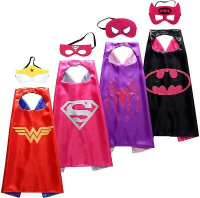4 Set Superhero Costumes Girls Capes and Masks for Kids Party Dress up Costumes