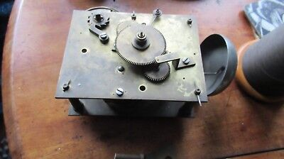 unusual one wind old brass grandfather clock movement with key & bell