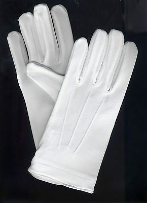 12 Pair White Tuxedo Gloves Parade Dress Uniform Guard Stretchable Band Formal