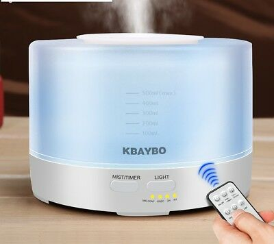 Air Humidifier Remote Control Aroma Ultrasonic Led Diffuser Oil Essential 500ml