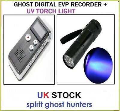 Ghost Digital Evp Recorder Uv 9 Led Flashlight Torch Spirit Paranormal Equipment