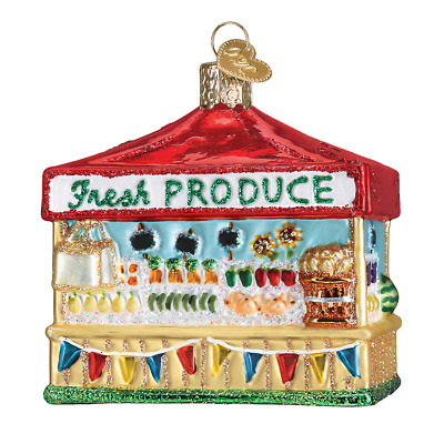 """Farmer's Market Stand"" (28122)X Old World Christmas Glass Ornament w/OWC Box"