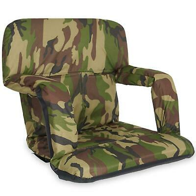 Stadium Bleacher Seat Reclinable Chair With Cushion For Games Tailgates - Cammo