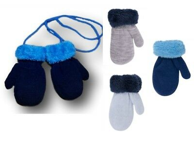 Baby Boy Toddler Winter Warm Mittens Gloves With String Fun Fur Size 9-24 Months