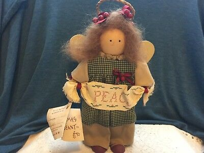 Longaberger Lizzie High Wood Doll Christmas Pageant Peace  Angel Handcrafted