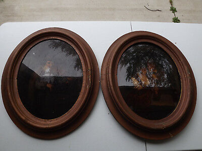 Pair of Antique Convex Bubble Glass reverse painting on glass 1800s estate find