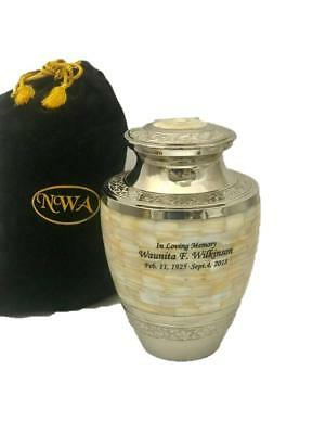 Urn For Human Ashes, Adult Size Brass Mother Of Pearl Cremation Urn W/ engraving