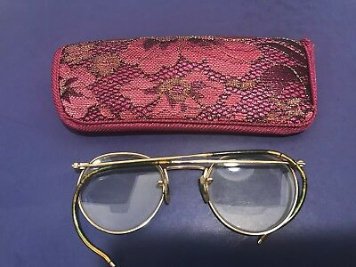 Vintage Old Antique Eyeglasses Round 12k Gold Filled With Case Very Worn FulVue