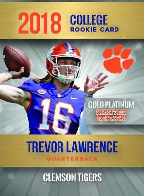 Trevor Lawrence 2018 First Ever College Gold Platinum Rc Only 2,000 Made Clemson