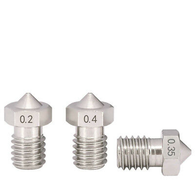 3D Printer Extruder Nozzle 0.2/0.3-1.0mm Stainless M6 Thread - 1.75/3mm For E3D