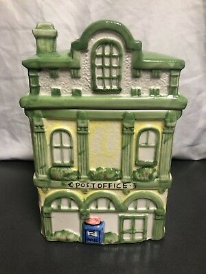 Vintage Post Office Cookie Jar Canister Ceramic Collectible 9""