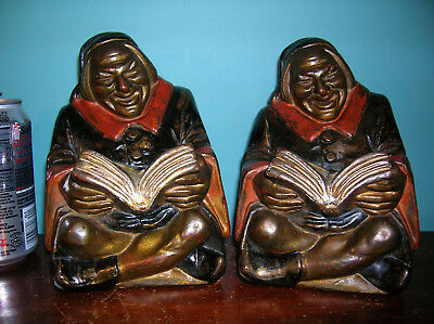 Antique friar monk bookends Armor Bronze clad, artist John Ruhl, original paint