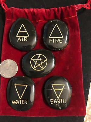 Elemental Air Water Fire Earth Pentagram Altar Etched Stone Kit Wiccan Pagan 14