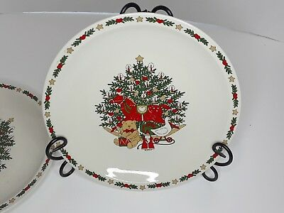 Set Of 3 O Christmas Tree 1987 Vintage Dinner Plates With Tree And Toys