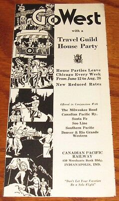 Vintage Travel Brochure, Go West House Party, Canadian Pacific Railway, Indiana