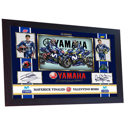 MAVERICK VINALES VALENTINO ROSSI MOTO GP photo print autograph signed Framed