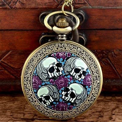 Vintage Antique Skull Pattern Steampunk Pocket Watch Quartz Necklace Chain Gift