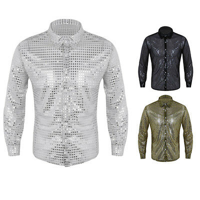 Fashion Shiny Glitter Long Sleeve Shirt Mens Stylish Top T-Shirt Dancing Club