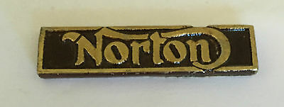 Vintage Sculpted Norton Name Bar B old metal emblem