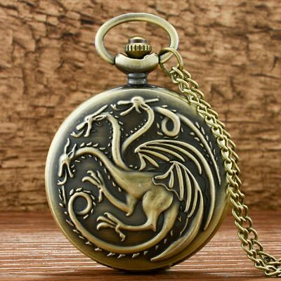 Vintage Game Of Thrones Dragon Pocket Watch Chain Quartz Antique Necklace Gift