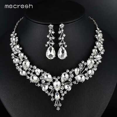 Mecresh Clear AAA+ Cubic Zirconia Leaf Necklace Earring Set Girl Bridal Jewelry