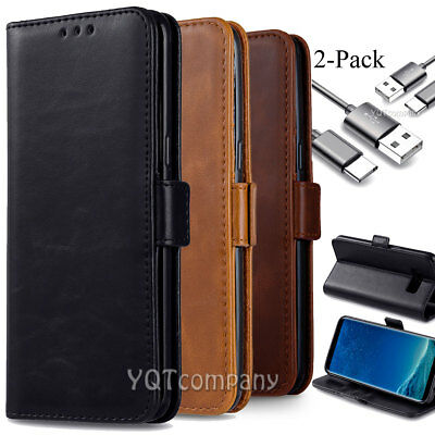Samsung Galaxy S8 /Active /Plus Leather Flip Wallet Case Phone Cover Stand Pouch