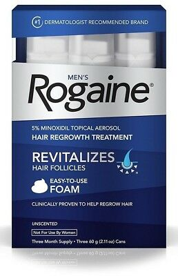 Mens Hair Regrowth Rogaine 5% Minoxidil Foam for 3-month Supply