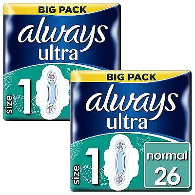 Always Ultra Normal Serviettes Hygiéniques Tampons Taille 1 Ailes Femme