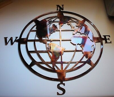 "Nautical COMPASS ROSE  20"" WALL ART DECOR WORLD GLOBE CENTER"