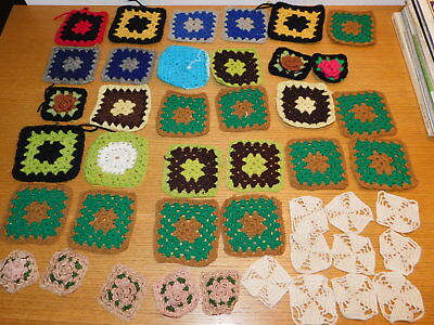 LOT NAPPERON tricot FAIT MAIN vintage DOILY BRODERIE hand made KNIT Deckchen