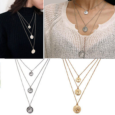 Fashion Multilayer Chain Choker Necklace Women Alloy Coin Pendant Charm Jewelry