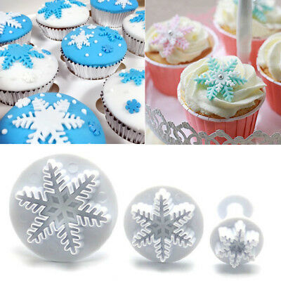 3pcs Snowflake Fondant Cutter Mold Cake Sugarcraft Plunger Decor Tool Christmas