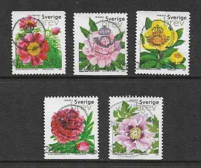 SWEDEN 2001 Peonies, Flowers, set of 5, used