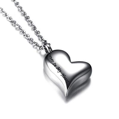 Stainless Steel Heart Urn Pendant Cremation Ashes Memory Necklace For Women 20'