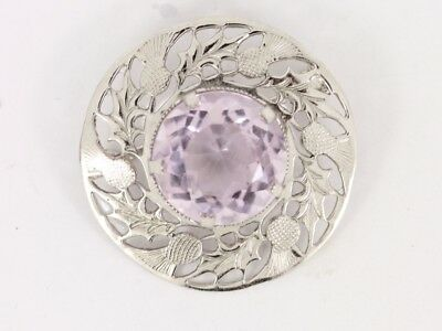 Amethyst Thistle Brooch Sterling Silver Ladies Stunning 925 8.6g Cn29