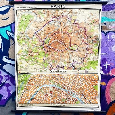 Vintage Retro Print Wall Art German Made Map Of Paris And Outer Areas