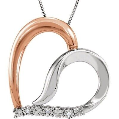 "14K Rose Gold-Plated Sterling Silver Diamond Heart 18"" Necklace"
