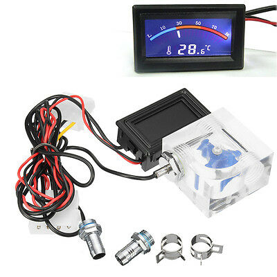 3 Way Flow Meter w/ LED Thermometer For Water Liquid Cooling Cooler System DC
