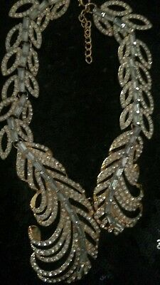 GOLD STYLE OSCAR DE LA RENTA  Crystal   FEATHER Couture NECKLACE, choker