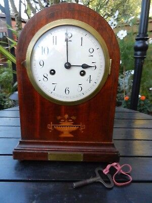 GUSTAV BECKER SILESIA Antique Inlaid Mahogany arch top Bracket / Mantel Clock.