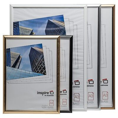 A1 A2 A3 A4 Plexi Glass Certificate Poster Frames in Black Silver Gold & White