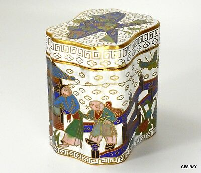 Antique Cloisonne Trinket Box Asian Oriental Chinese Sagaofluck