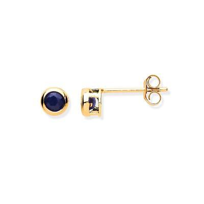 Solid 9ct Yellow Gold Sapphire Rubover Round Solitaire Stud Earrings Gift Boxed