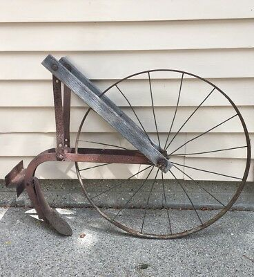 Primitive Vintage Antique Cultivator High Wheel Farm/Garden Plow Rustic
