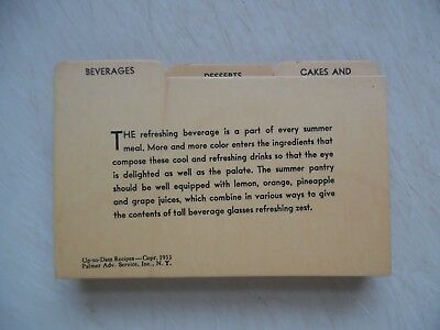 Set Up-to-Date Recipe Cards Palmer Adv. Advertising Service 1933 Vintage Antique