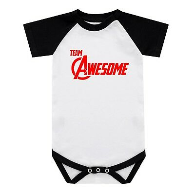 Marvel Avengers Babygrow Team Awesome Baseball Baby Grow 0-18 Months New