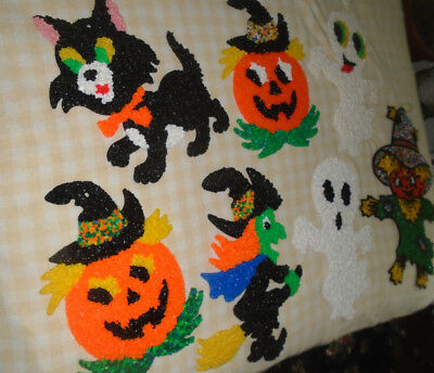 7 Vintage Halloween decorations witch-ghosts-pumpkin-cat Melted Plastic Popcorn
